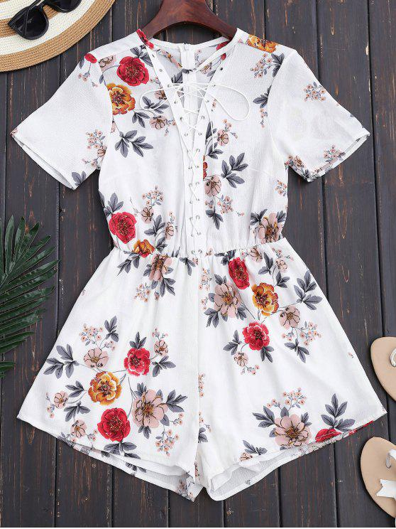 shop Lace Up Floral Choker Romper - WHITE M