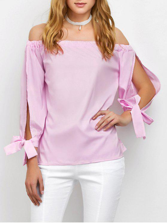 women Split Sleeve Off The Shoulder Blouse - PINK S