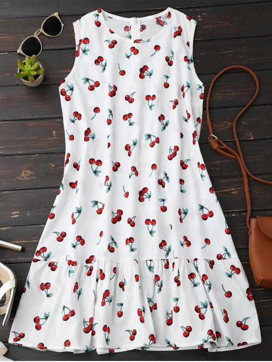 chic Sleeveless Cherry Ruffle Dress - WHITE S