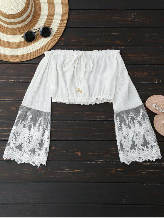 shops Mesh Panel Off Shoulder Cropped Blouse - WHITE L