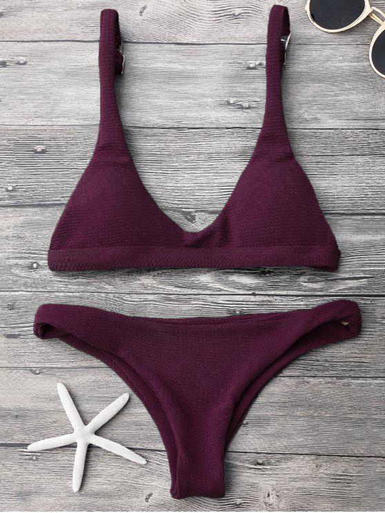 Conjunto de bikini acolchado de talle bajo y cintura baja - Merlot S