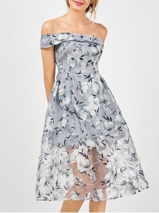 best Off The Shoulder Floral Tea Length 50s Dress - SMOKY GRAY 2XL