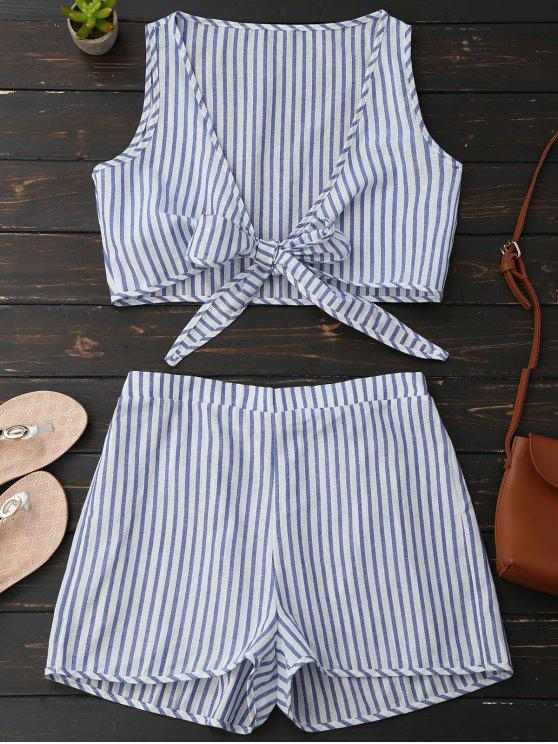 trendy Plunge Striped Front Tied Top with Shorts - BLUE STRIPE S
