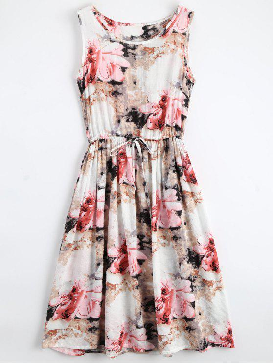 online Midi Sleeveless Drawstring Floral Dress - FLORAL S