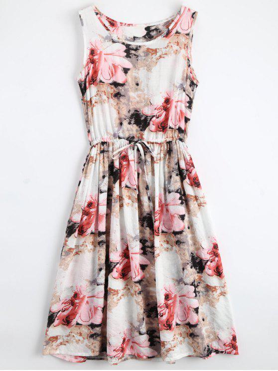 Midi Vestido Floral con Cordón sin Mangas - Floral XL