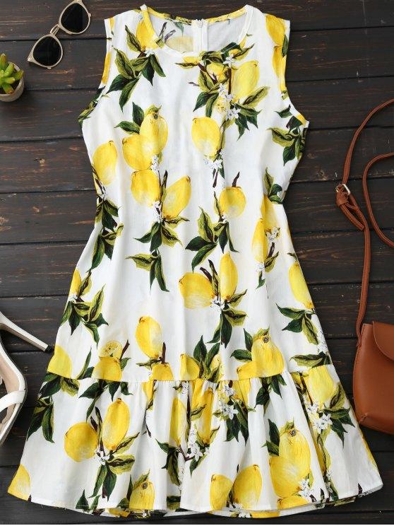 Robe sans manches à volants imprimée citrons - Jaune L