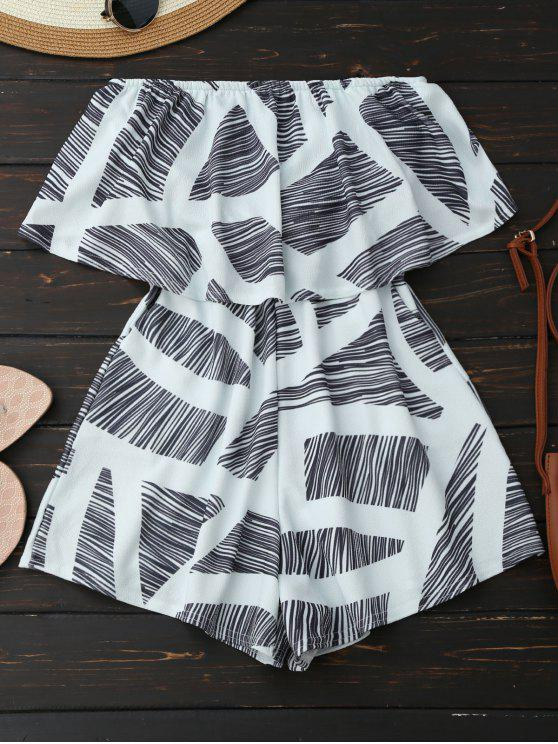 outfit Strapless Geometric Pattern Romper - WHITE XL