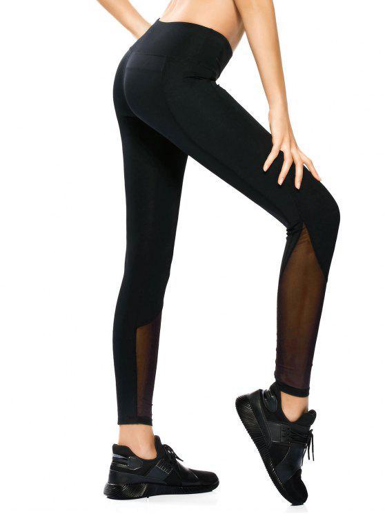 Polainas flacas de la yoga del panel de malla - Negro L