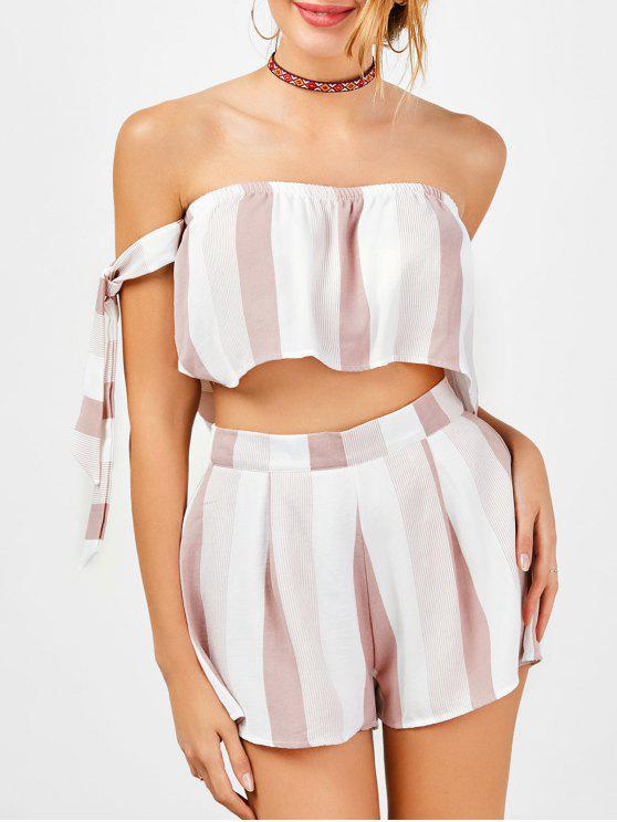hot Strapless Stripe Crop Top and High Waisted Shorts - RED WITH WHITE M