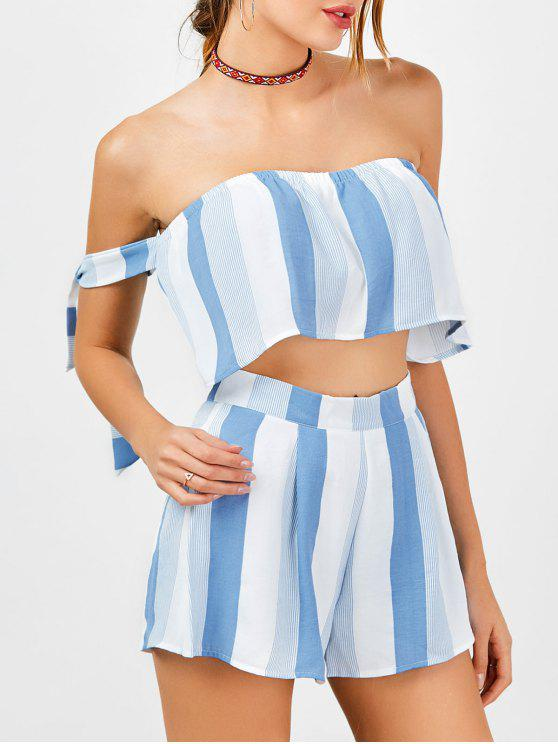 trendy Strapless Stripe Crop Top and High Waisted Shorts - BLUE AND WHITE XL