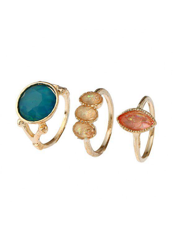 Ensemble d'anneaux géométriques en pierres précieuses artificielles - Or
