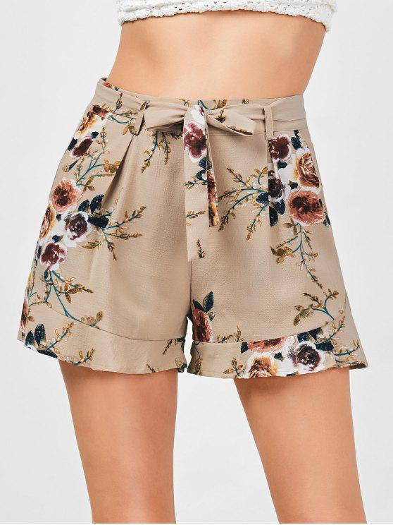 outfits High Waisted Belted Floral Shorts - KHAKI XL