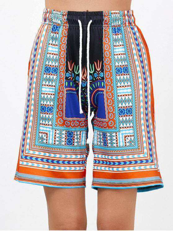 fashion Bohemian Print Drawstring High Waisted Board Shorts - ORANGE L