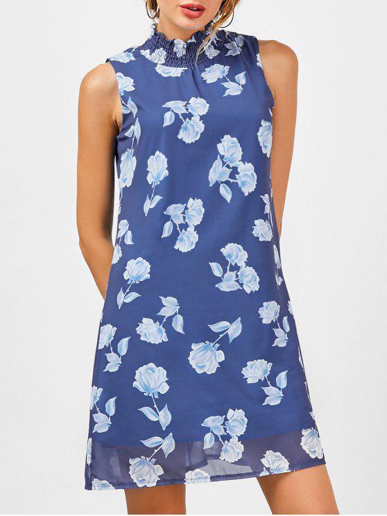 فستان شيفون طباعة الأزهار بخط A - أزرق 2XL