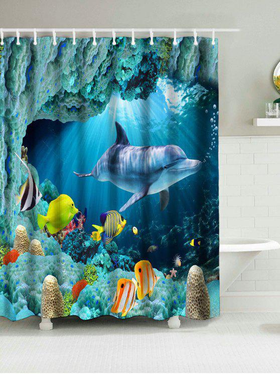 الدلافين البحر العالم طباعة ماء دش الستار - أزرق W71 بوصة * L71 بوصة