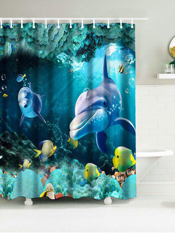 البحر العالم بحري نسيج ستائر الحمام الحمام - أزرق W71 بوصة * L71 بوصة