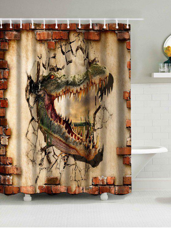 ديناصور طباعة ماء النسيج دش الستار - ترابي W71inch*L71inch