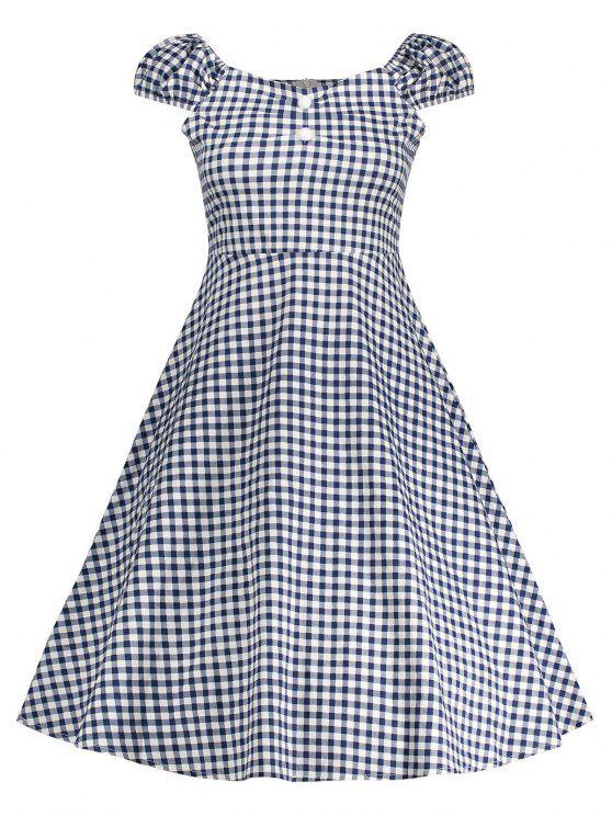 A فستان جينغهام عالية الخصر كلاسيكي بخط - الأرجواني الأزرق M