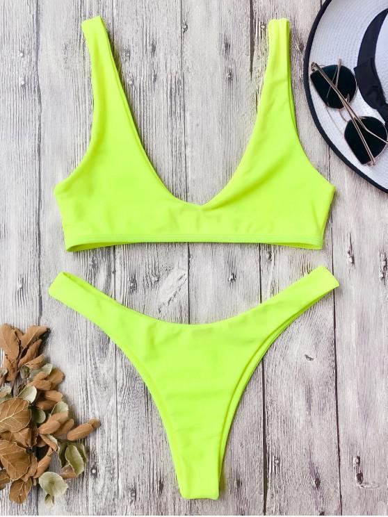 Traje de Bikini con Escote en U con Tiro Alto - Neón Amarillo L