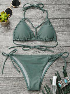 Halter Strappy Front String Bikini Set - Army Green M