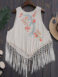 Fringed Embroidered Tank Top - Light Beige S