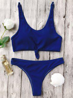 Knotted Bralette High Cut Bikini Set - Blue S