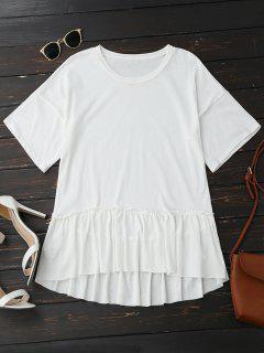 Camiseta De Manga Corta Con Volantes - Blanco