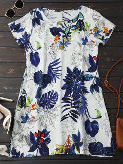 Leaf Print Linen Smock Dress - Deep Blue L