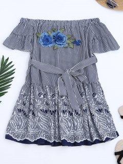 Robe A Ligne Imprimée De Motif Floral à Rayures à épaules Tombantes - Rayure M