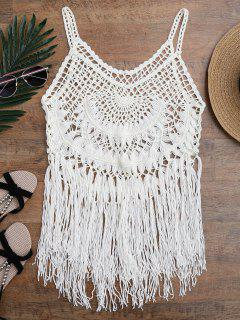 Tasselled Crochet Tank Top Cover Up - Off-white