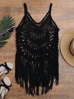 Tasselled Crochet Tank Top Cover Up - Black