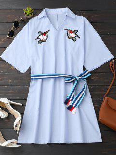 Rhinestone Birds Shirt Dress With Belt - Light Blue Xl