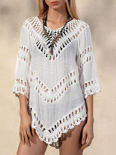 V-Neck Crochet Blouse - White