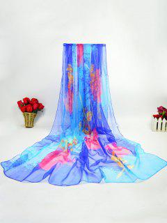Lightsome Ice Silk Fancy Rose Printed Scarf - Royal