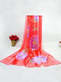 Ice Silk Showy Flowers Printed Gossamer Scarf - Red