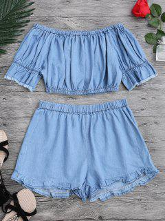 Off The Shoulder Cropped Top And Ruffles Shorts - Blue M