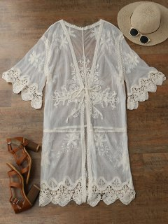 Sheer Tulle Beach Kimono Cover Up - Beige