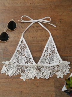 Longline Sheer Lace Bra Top - White L