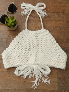 High Neck Crochet Crop Top - Off-white