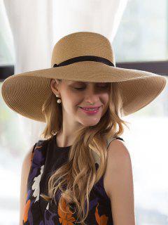 Oversize Brim Ribbon Bowknot Pinstripe Straw Hat - Palomino