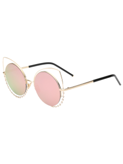 Rhinestone Round Hollow Out Cat Eye Sunglasses - Pink