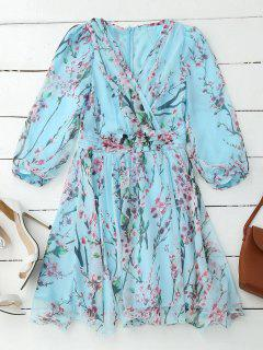 Floral Surplice Flowy Dress - Pinkish Blue Xl