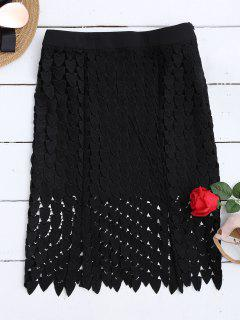 Lace Cut Out Sheath Skirt - Black L
