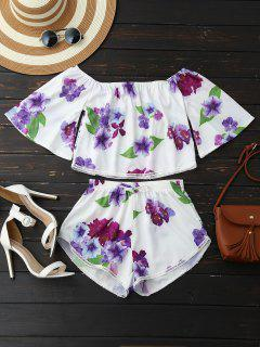 Off Shoulder Floral Crop Top And Shorts - White L