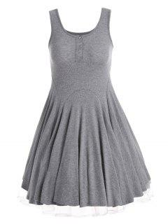 Knitting Half Button Fit And Flare Dress - Gray