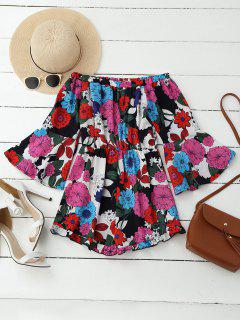 Off Shoulder Floral Bell Sleeve Romper - Xl