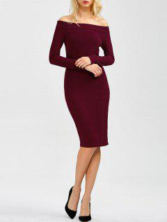 Off Shoulder Bodycon Long Sleeve Dress - Wine Red L
