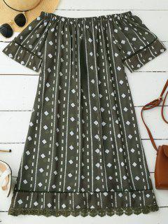 Robe En Mousseline De Soie élastique Géométrique - Hampton Vert Xl