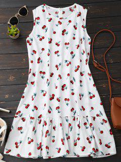 Sleeveless Cherry Ruffle Dress - White S