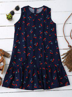 Sleeveless Cherry Ruffle Dress - Deep Blue M